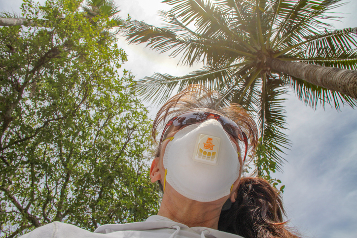 Woman wearing N95 Face Mask outdoors in Fort Lauderdale due to COVID-19 Pandemic