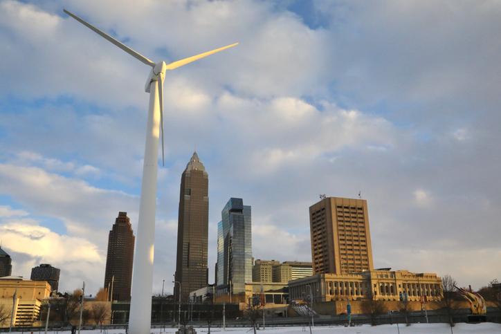Wind turbine powering a major city