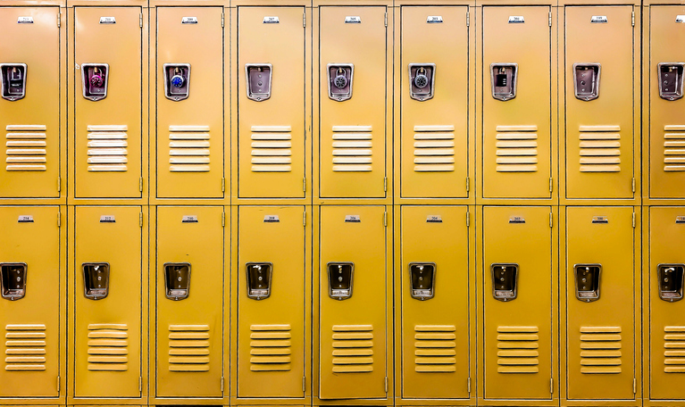 row of traditional metal school lockers