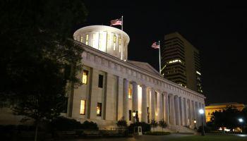 Illuminated Ohio Statehouse Building in Columbus, Ohio, USA