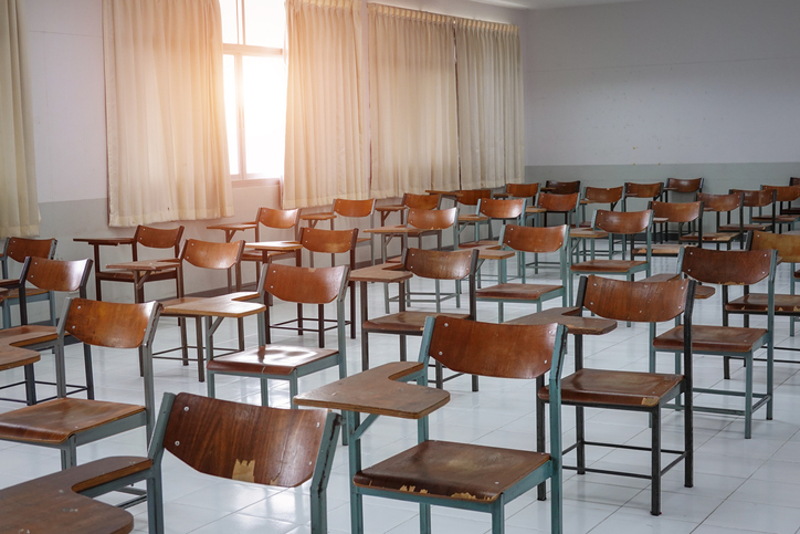 Empty Chairs And Tables In Classroom