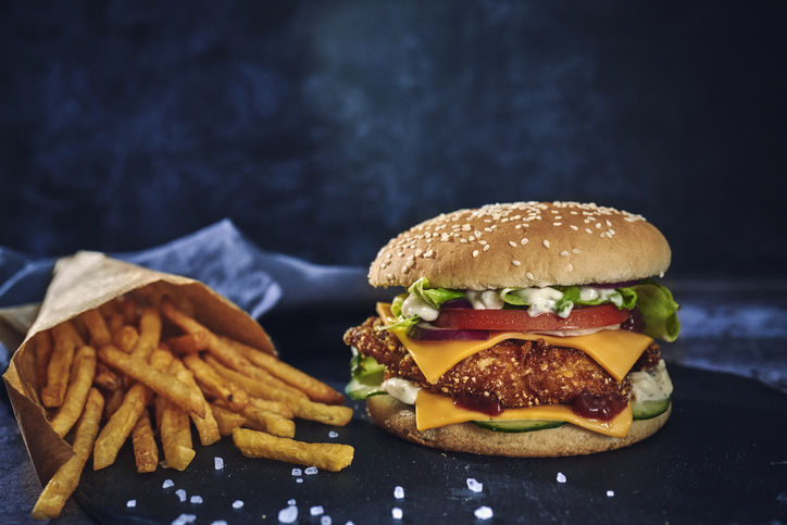 Crispy Chicken Burger with Cheese, Tomato, Onions and Lettuce